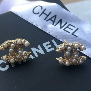 Authentic Chanel Pearl Studs